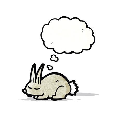 though: cartoon little rabbit sleeping