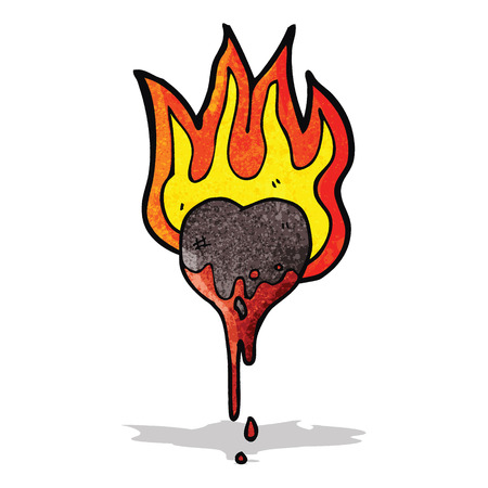 flaming heart: cartoon flaming heart