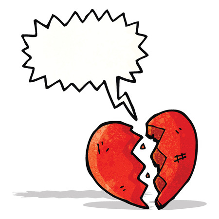 breaking heart cartoon Ilustracja