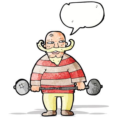 hombre fuerte: de dibujos animados de circo retro hombre fuerte