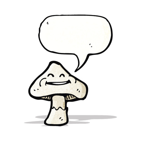 a toadstool: cartoon toadstool with speech bubble Illustration