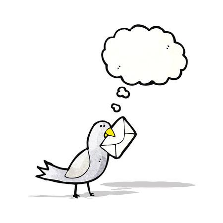 cartoon bird with envelope Vector
