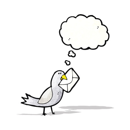 carrier pigeons: cartoon bird with envelope