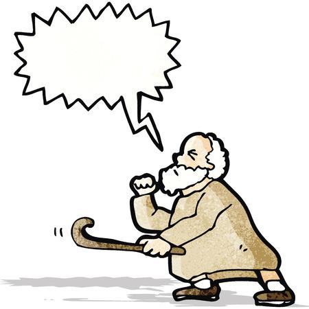 cartoon old man shaking stick Vector