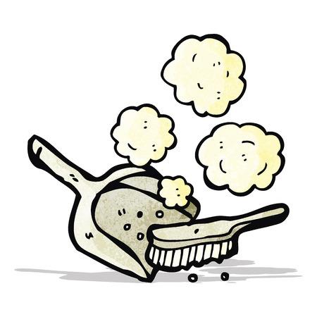 dust pan: cartoon dust pan and brush