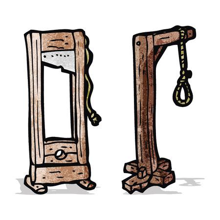 guillotine: cartoon guillotine and gaols
