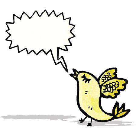 tweeting: cartoon singing bird Illustration