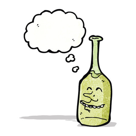 though: cartoon wine bottle with face