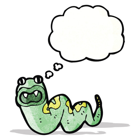 hissing: cartoon snake with thought bubble Illustration