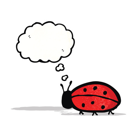 cartoon ladybug with thought bubble Vector