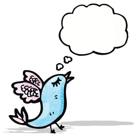 cartoon rare bird with thought bubble