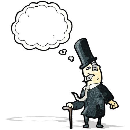 though: cartoon man wealthy man Illustration