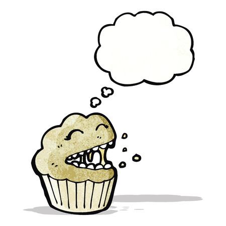 though: cartoon muffin with thought bubble