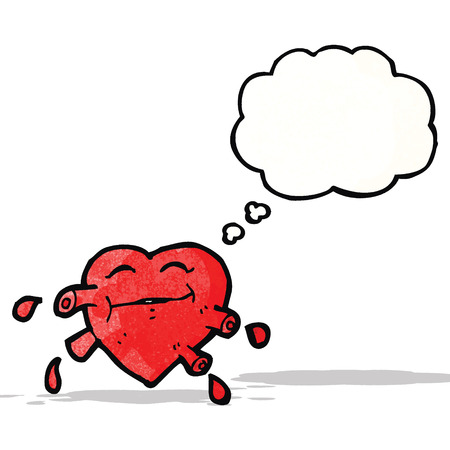 pumping: cartoon pumping heart with thought bubble