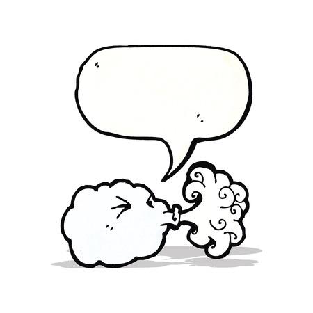 blowing wind: cartoon cloud blowing wind Illustration