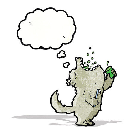 enjuague bucal: dibujos animados g�rgaras lobo enjuague bucal