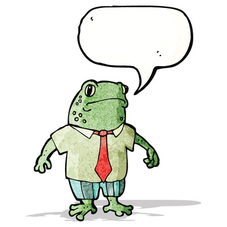 cartoon toad with speech bubble and suit