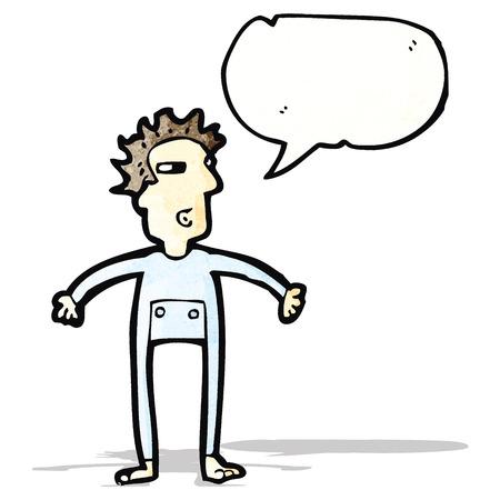 mann unterw�sche: Cartoon Mann mit langen Unterw�sche