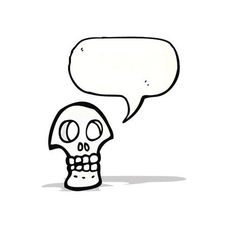 cartoon skull symbol with speech bubble Vector