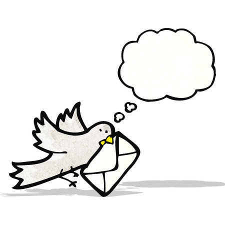 carrier pigeons: cartoon pigeon with letter Illustration
