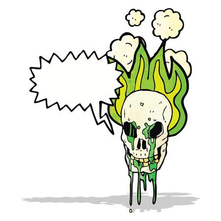spooky flaming skull cartoon Vector