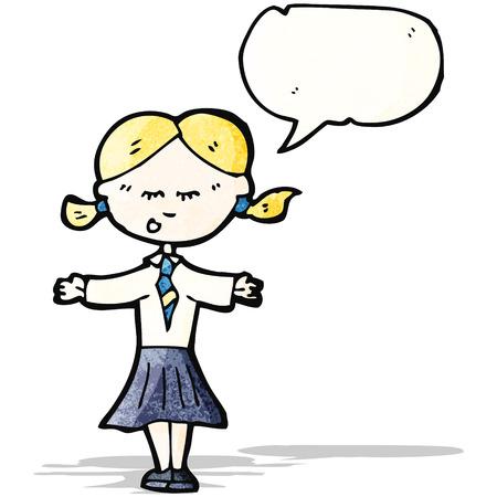 cartoon school girl: ni�a de la escuela de dibujos animados