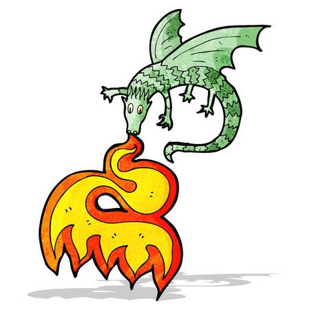 fire breathing dragon cartoon Vector