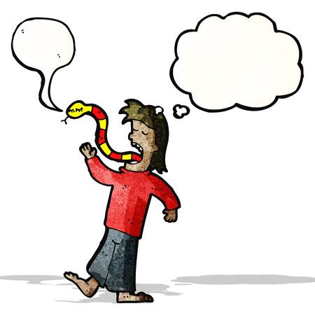telling: cartoon man telling lies Illustration