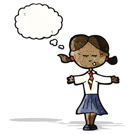 cartoon school girl: cartoon clever school girl Illustration