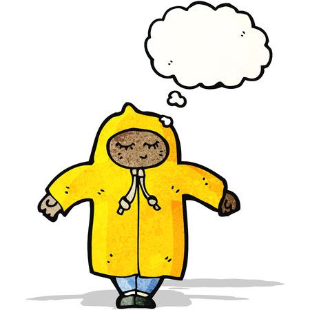 raincoat: cartoon person in raincoat Illustration
