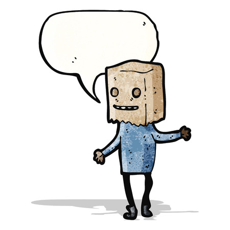 ugly man: ugly man with bag on head Illustration