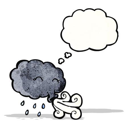 blowing wind: cartoon storm cloud blowing wind