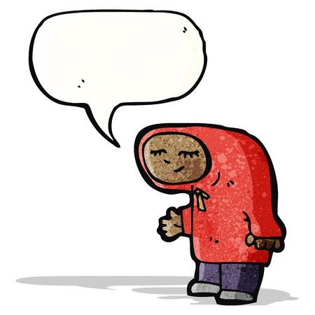 encapuchado: Persona de la historieta en el abrigo con capucha