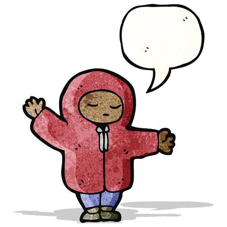 encapuchado: persona de dibujos animados en el abrigo con capucha Vectores