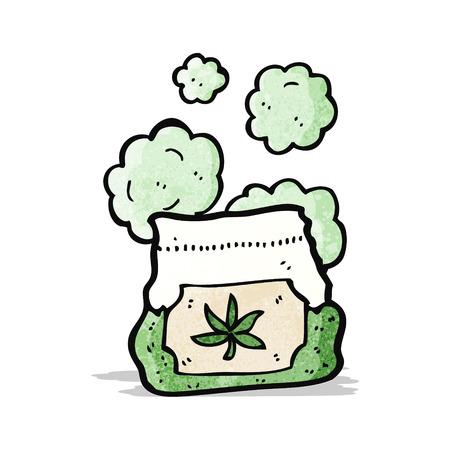 cartoon bag of weed Vector