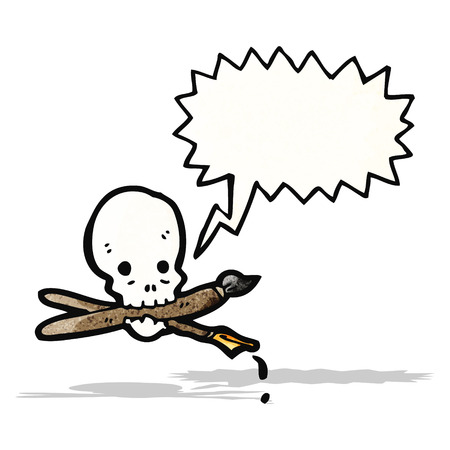 skull with art supplies cartoon Vector