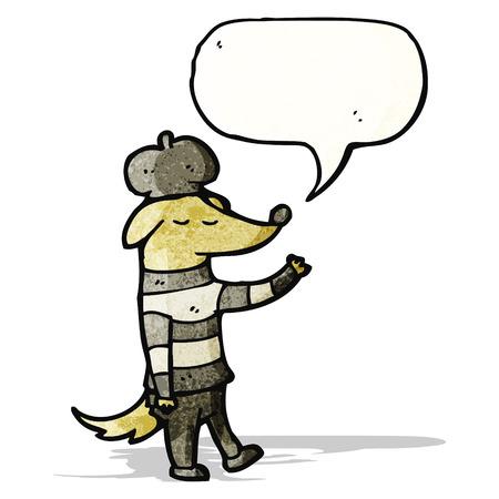 poet: cartoon cool french dog