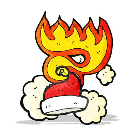 flaming: flaming santa hat cartoon