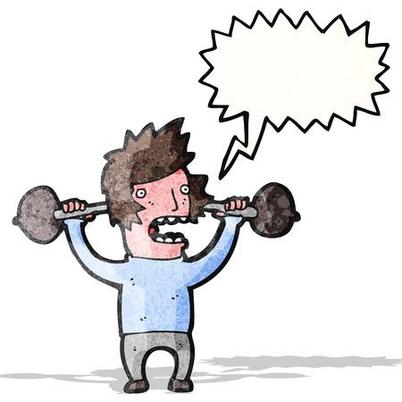 hombre levantando pesas: hombre de dibujos animados levantar objetos pesados