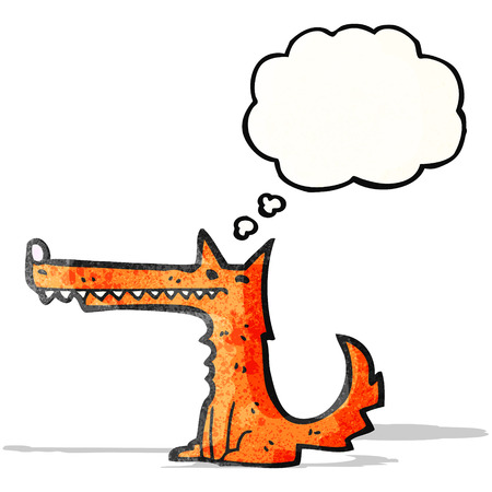 long nose: cartoon long nose fox with thought bubble