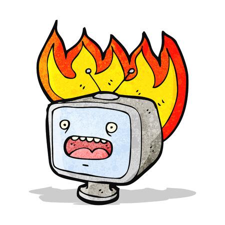 set de television: dibujo animado ardiente viejo televisor