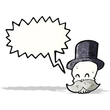 calavera caricatura: cr�neo de la historieta con el bigote