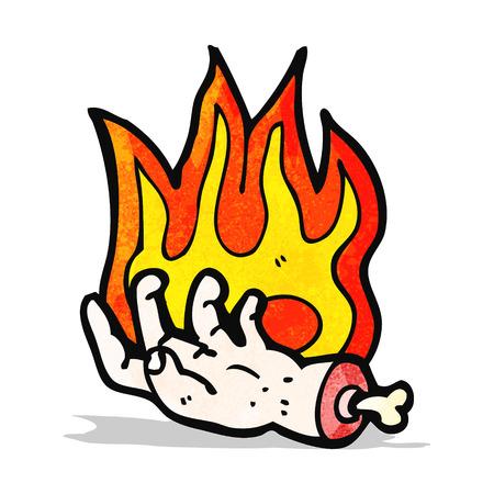 mano cartoon: cartone animato mano fiammeggiante