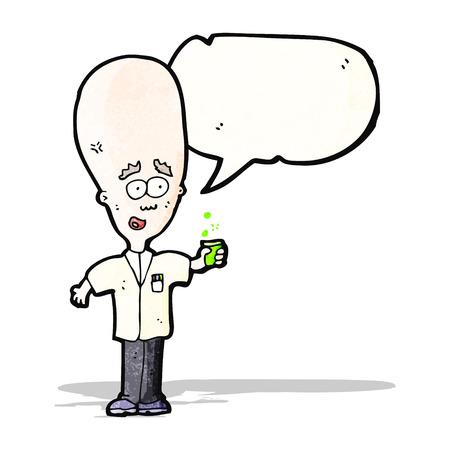 cartoon big head scientist Vector