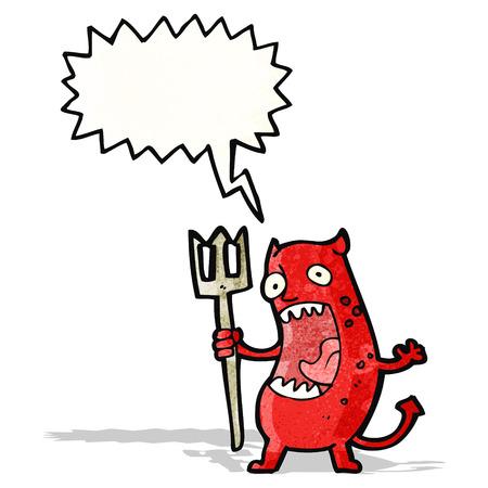 shouting little devil cartoon Vector