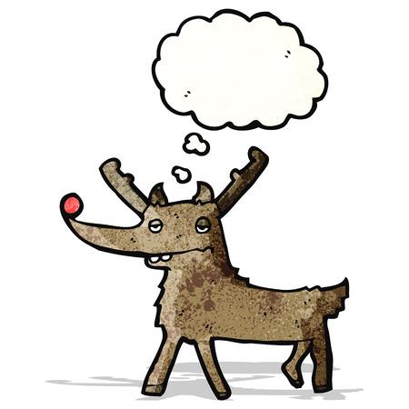red nosed: cartoon red nosed reindeer