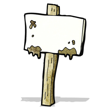 muddy signpost cartoon Illustration