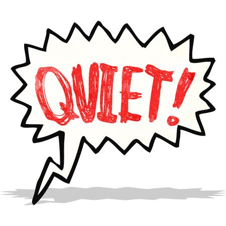quiet: shout for quiet cartoon Illustration