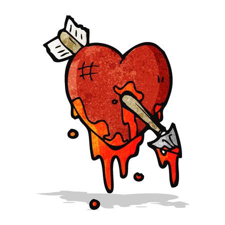 blood splattered heart cartoon Vector