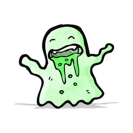 slimy: gross slimy ghost cartoon Illustration